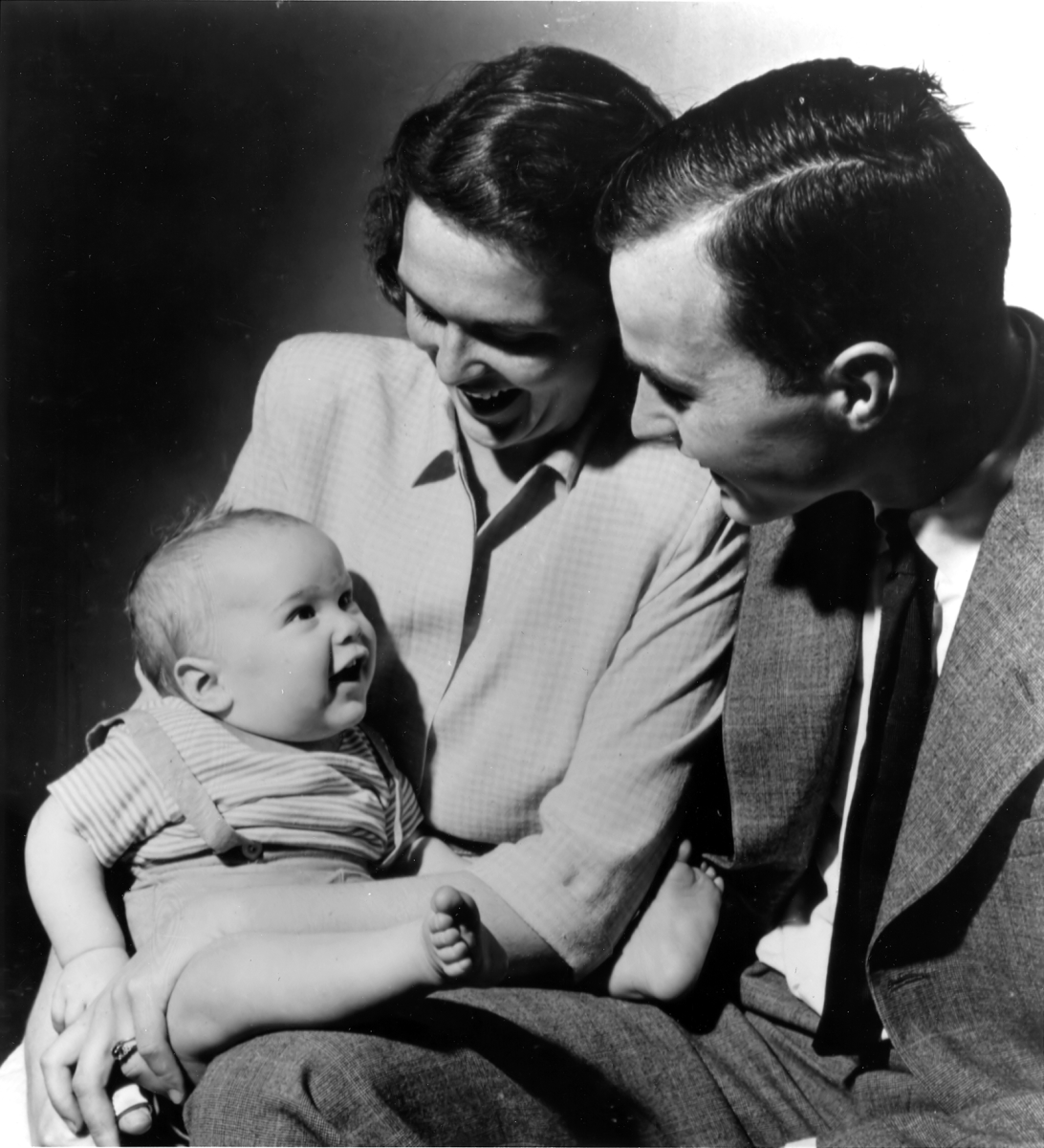 George and Barbara Bush with their first born child George W. Bush, while Bush was a student at Yale,