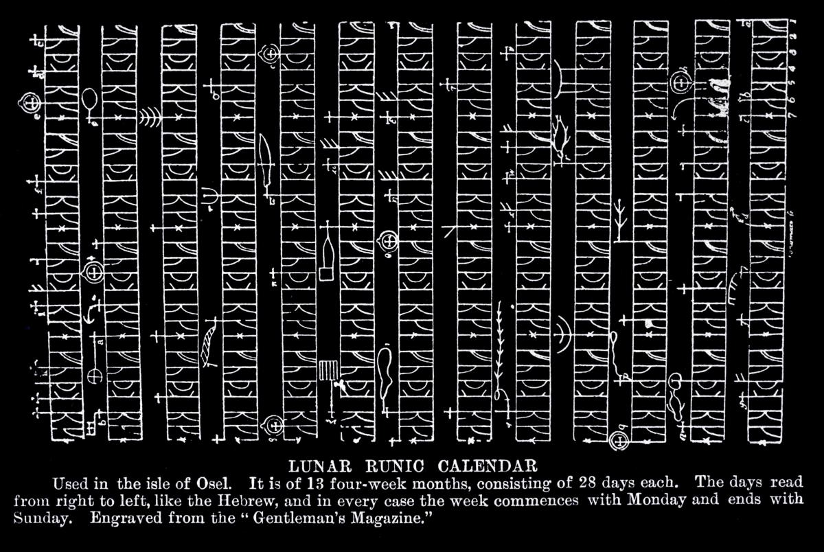 Centuries old runic calendar found in Estonia. It divided the year in thirteen months of 4 weeks each.