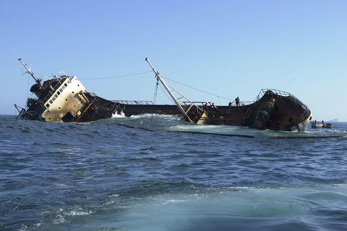 A tanker aground in Galapagos. Maritime oil transportation is a major source of pollution.