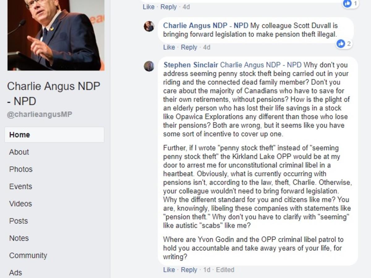Screenshot of Canadian MP Charlie Angus seemingly libeling corporations.