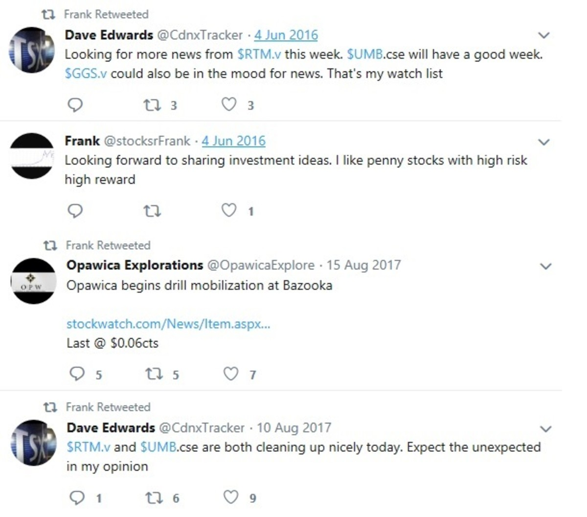 Screen captures of @stocksrFrank tweets