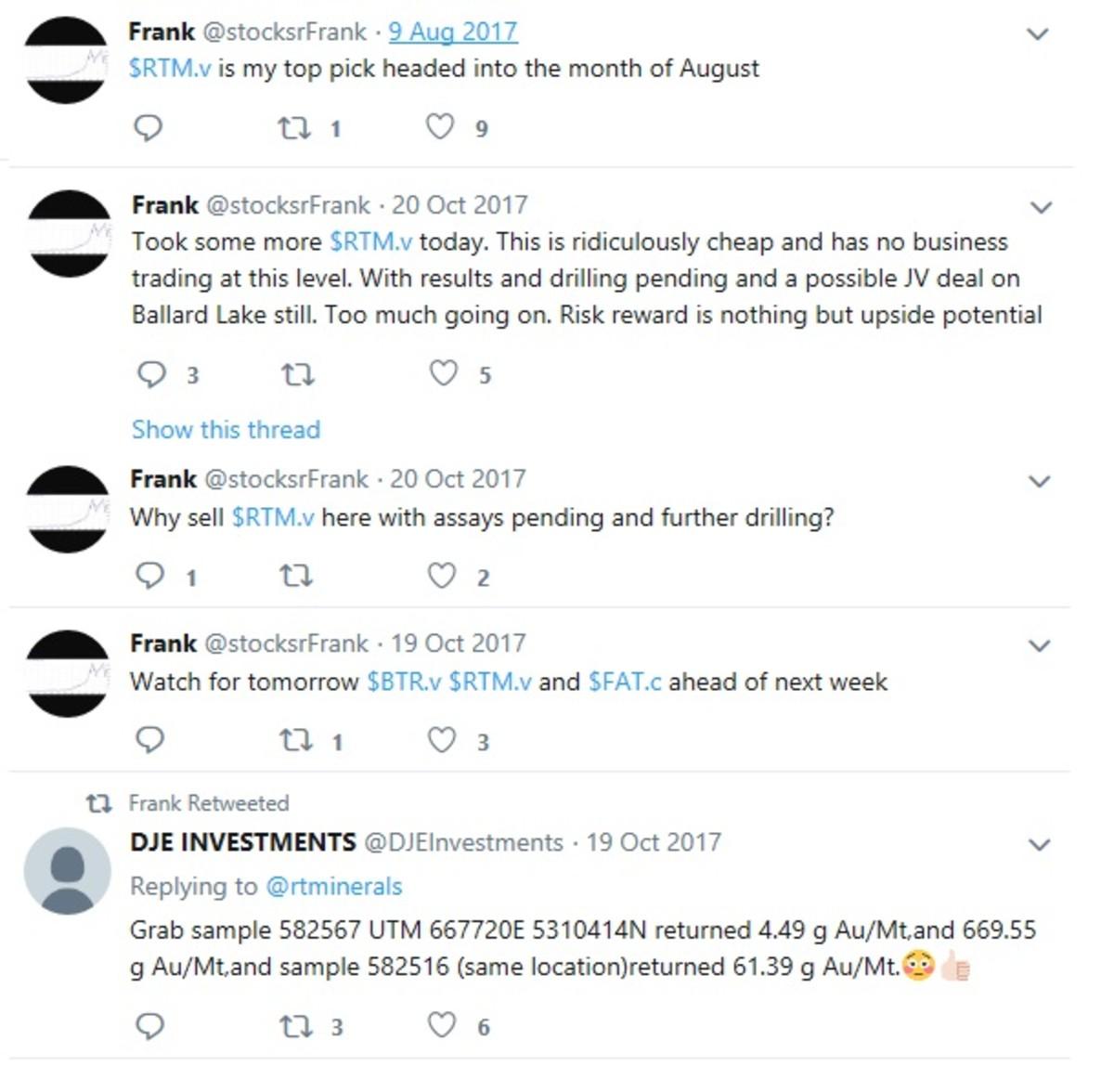 Screen captures of @stocksrFrank tweets