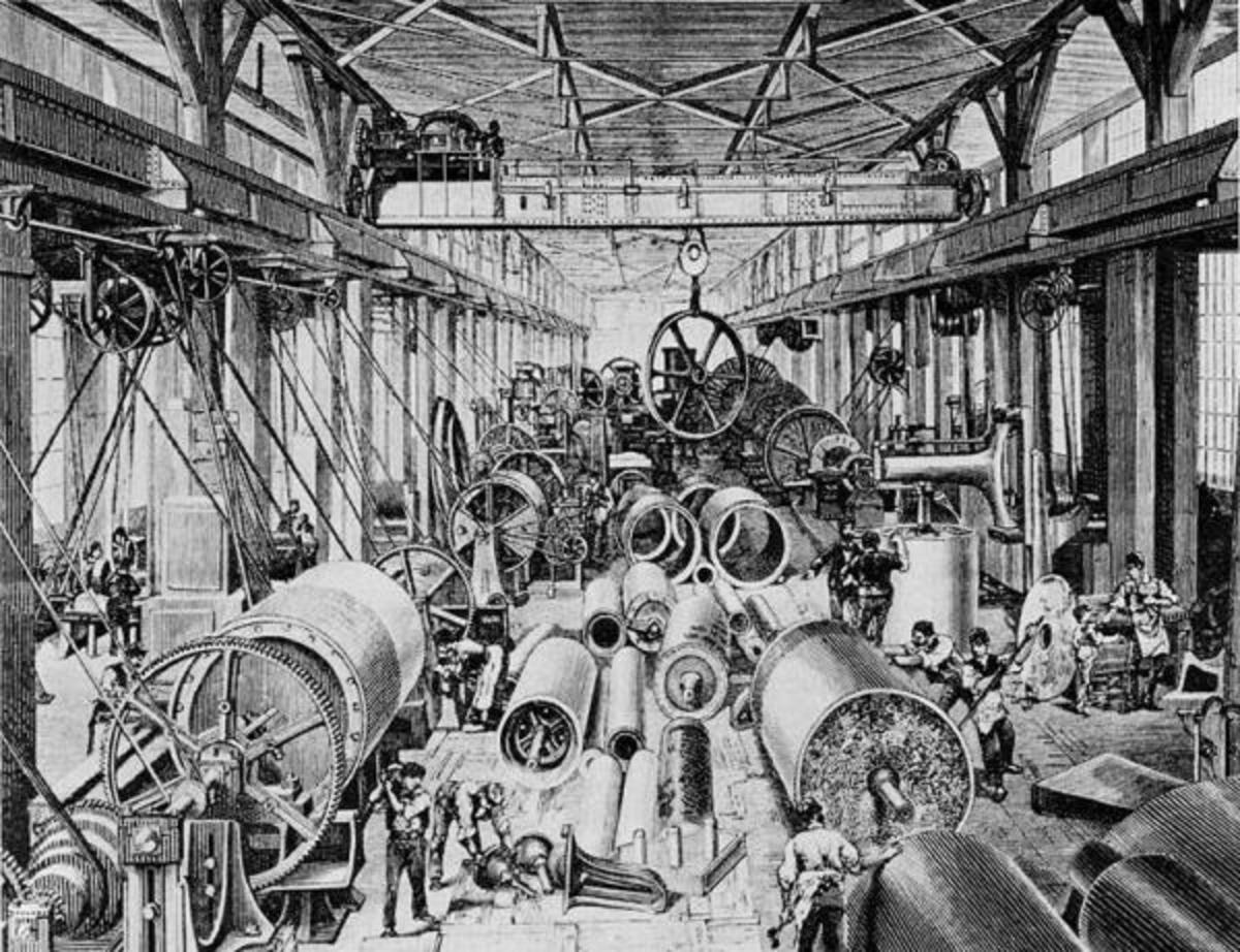 Inside one of the first factories.