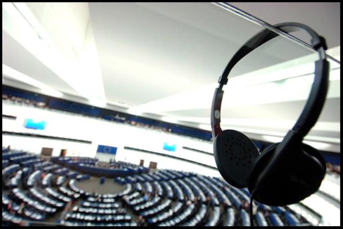 Headphones inside European Parliament.