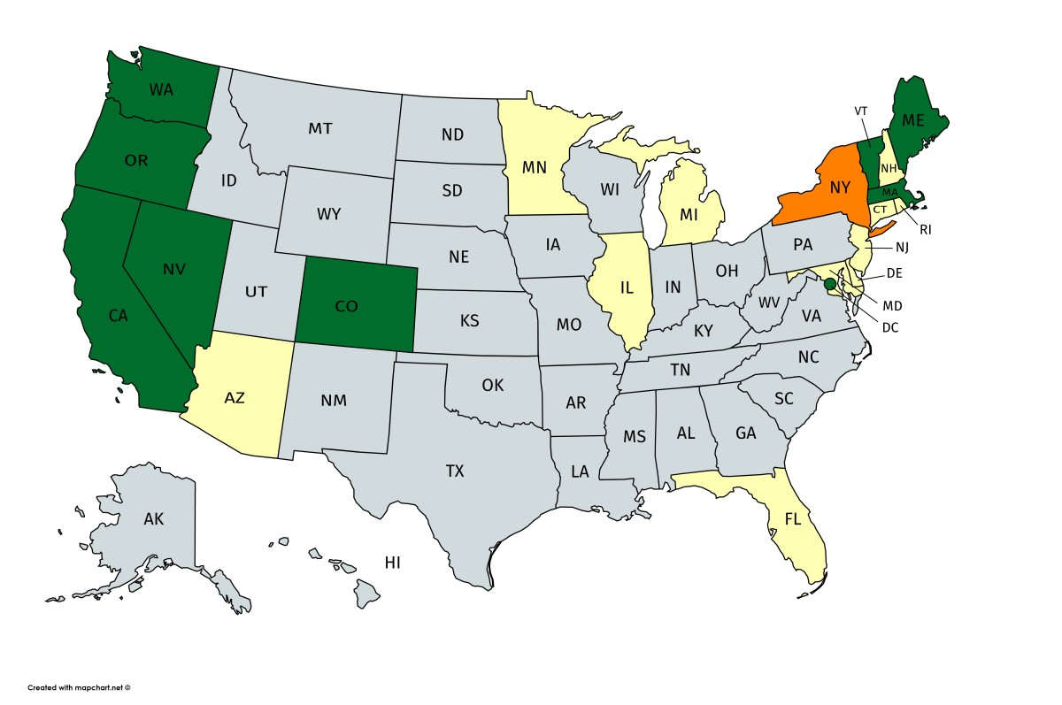 Legal cannabis; Green states have legalized for recreational use, white states are expected to legalize within five years. New York is in orange.