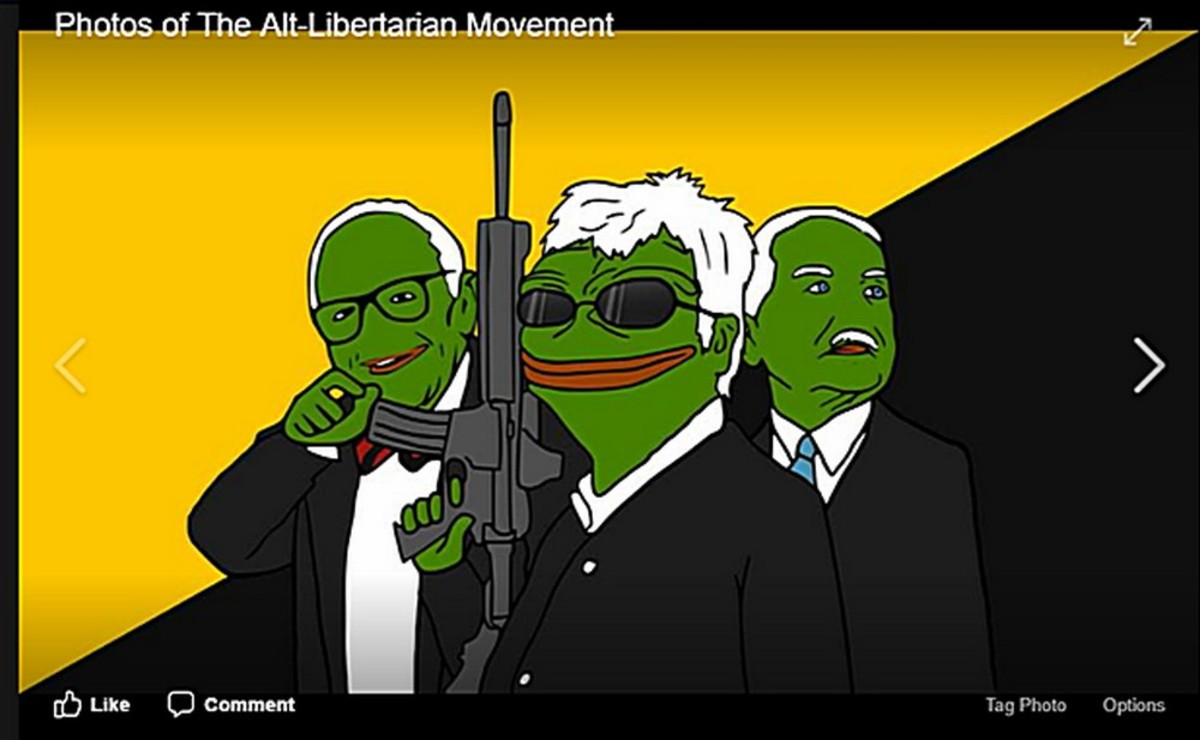Typical green frog-faced alt-liberARYAN meme on Facebook