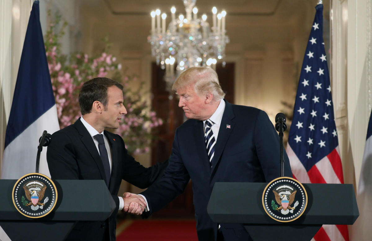Trump and French President Emmanuel Macron finish a joint press conference Tuesday, during which Trump spoke on the upcoming summit.