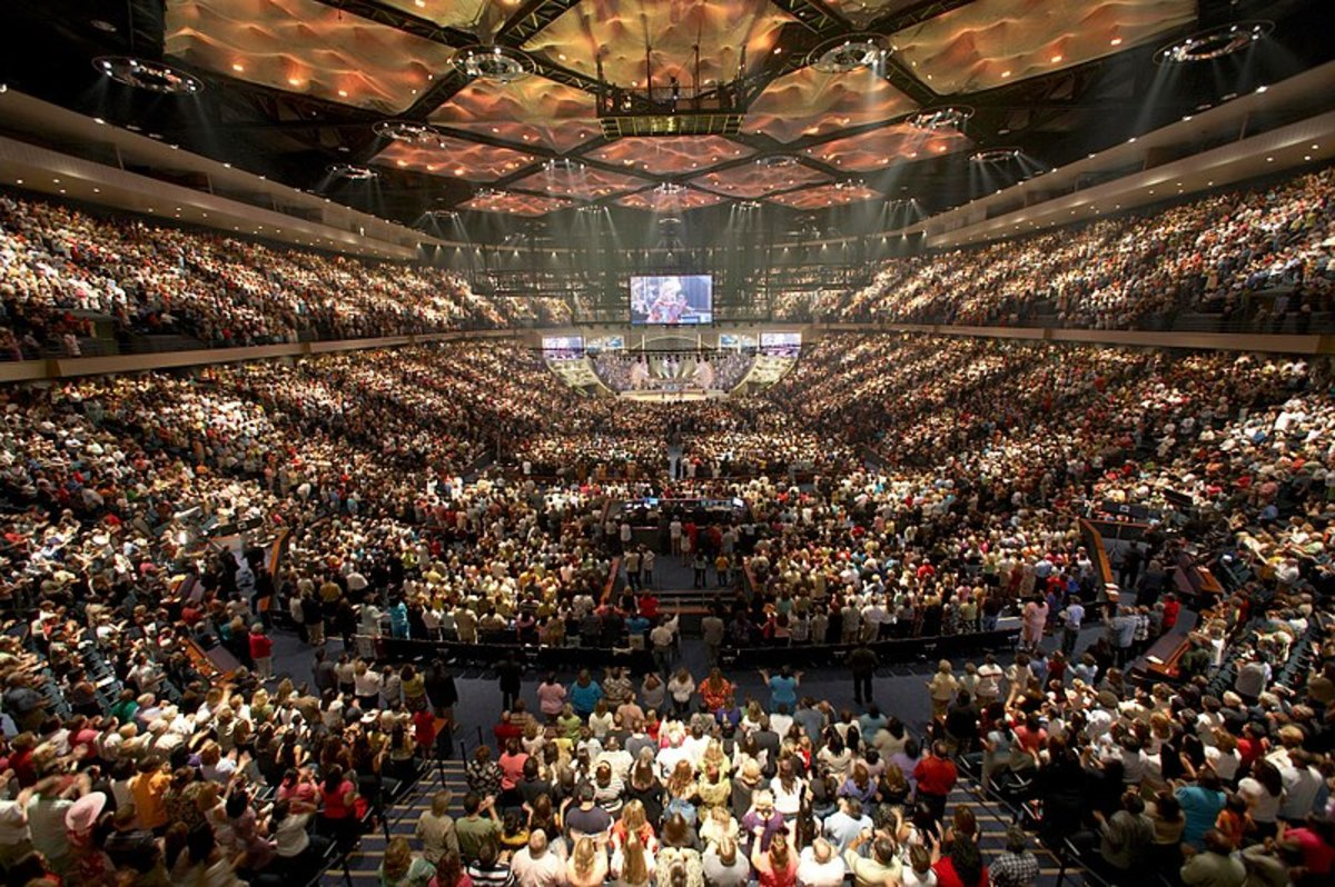 Lakewood Church in Houston is where Pastor Joel Osteen preaches the prosperity gospel to congregations of 52,000.