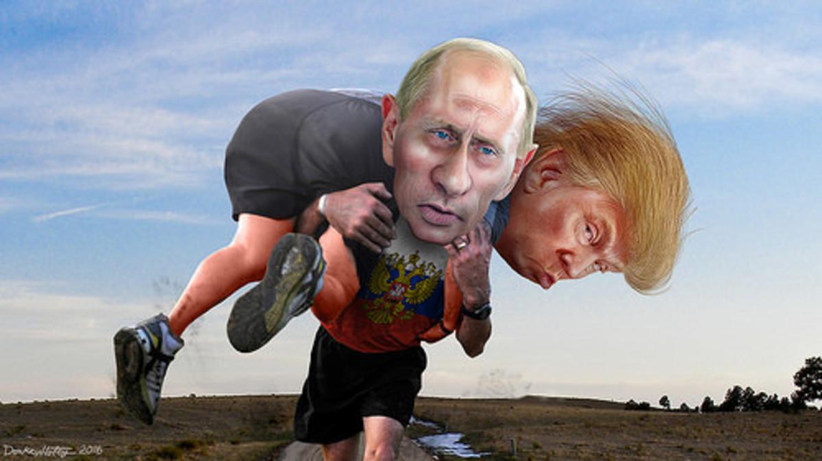 A cartoon depicting Trump and Putin.