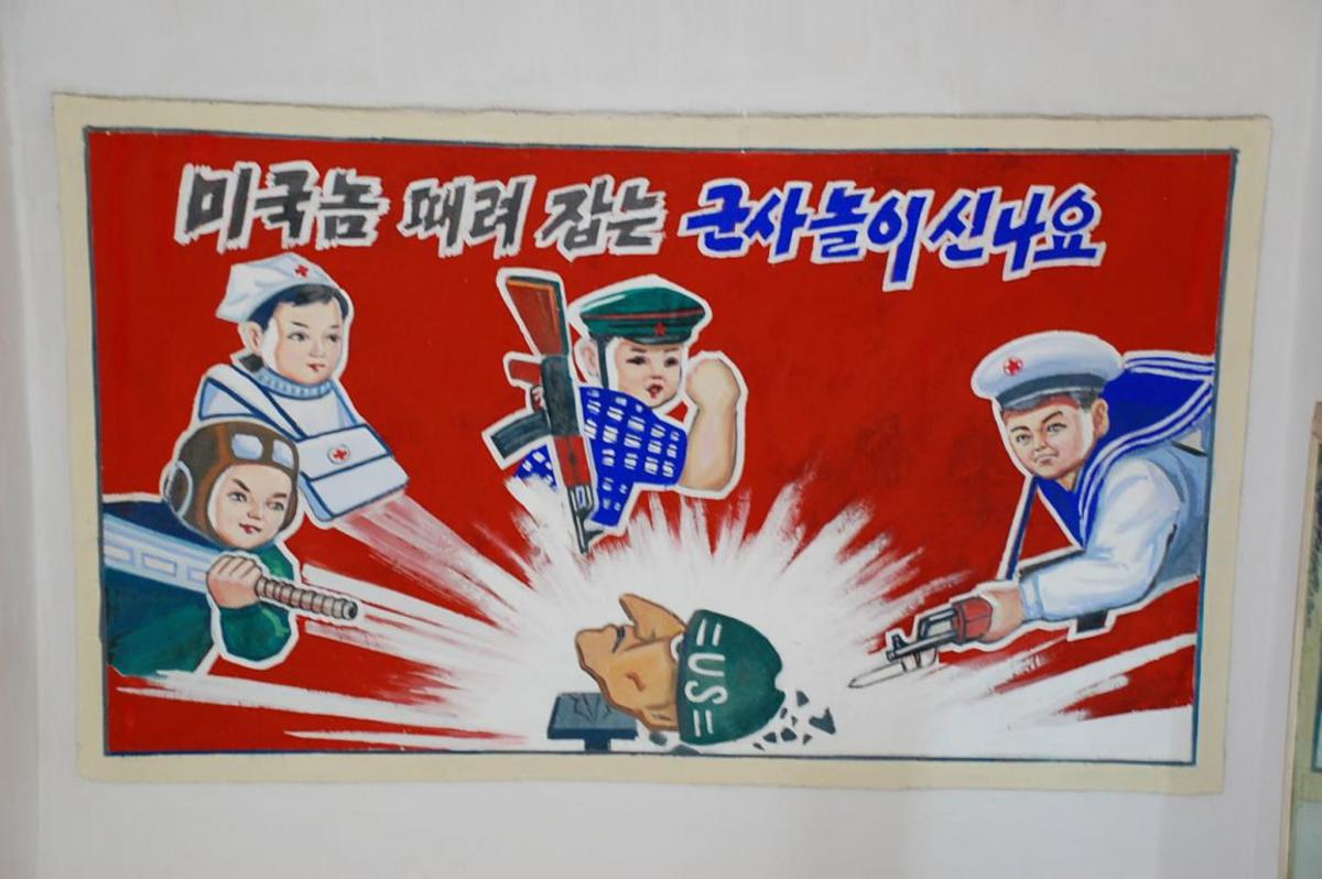 Propaganda is prevalent throughout North Korea. At a young age, children are taught that Americans are evil, and eat North Korean children.