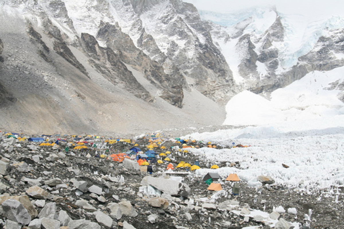 Base camp where climbers acclimatize to the altitude before pushing to the summit.
