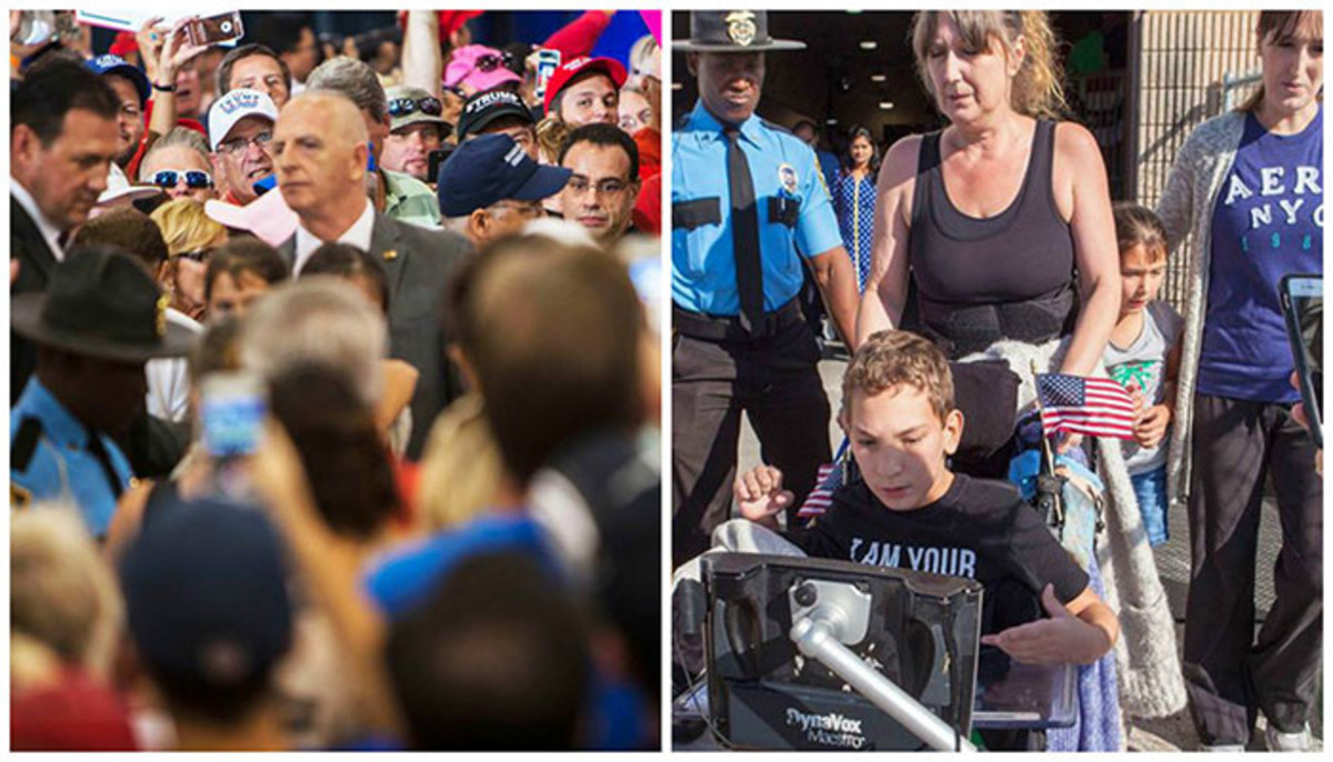 12-year-old JJ Holmes and his mother being escorted out of a Trump rally, in which the patron began to turn against them.