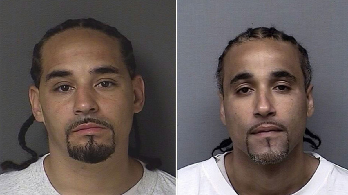 Richard Jones's (right) only crime was looking similar to Rick Amos (left).