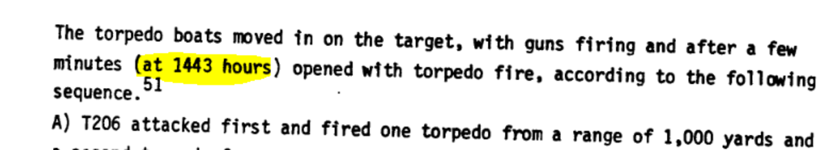 "Passage from page 17 of ""IDF History"" report on USS Liberty, giving time of torpedo attack, at 2:43 pm (""1443"" military time.)"
