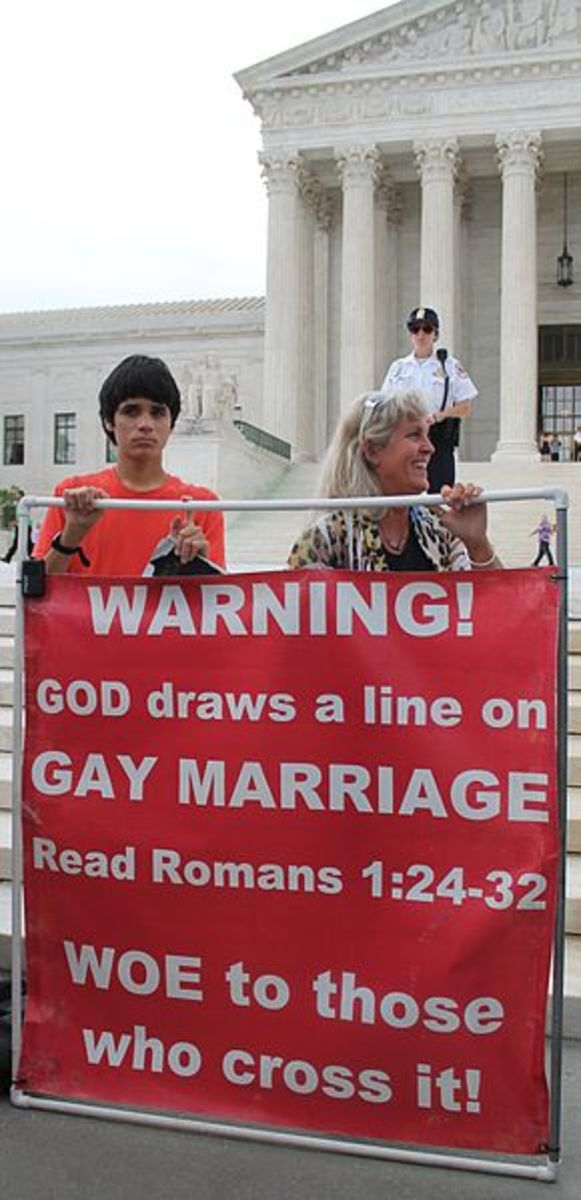 Anti-gay demonstrators at the Marriage Equality Decision Day rally in front of the U.S. Supreme Court in Washington DC on June 26, 2015.