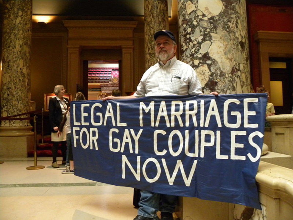 A pro-gay protester outside the Minnesota State Senate.