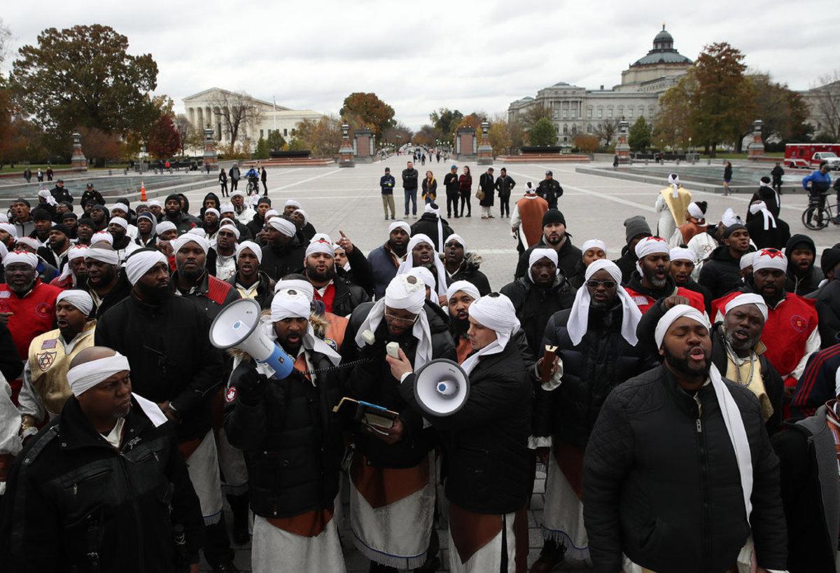 Black Hebrew Israelites at a November demonstration in Washington D.C.