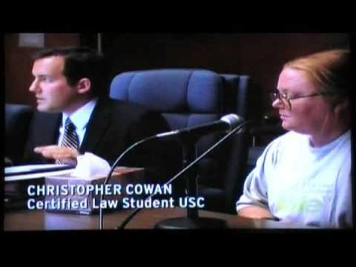"""Spencer at a hearing with her """"advocate."""""""