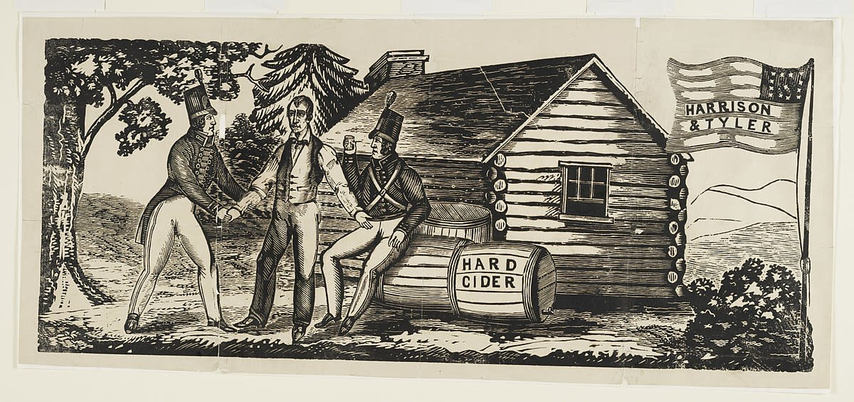 Cartoon depicting Harrison drinking hard cider in front of his log cabin.