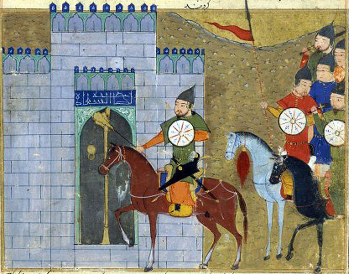 Mongols attack Chinese fortifications.