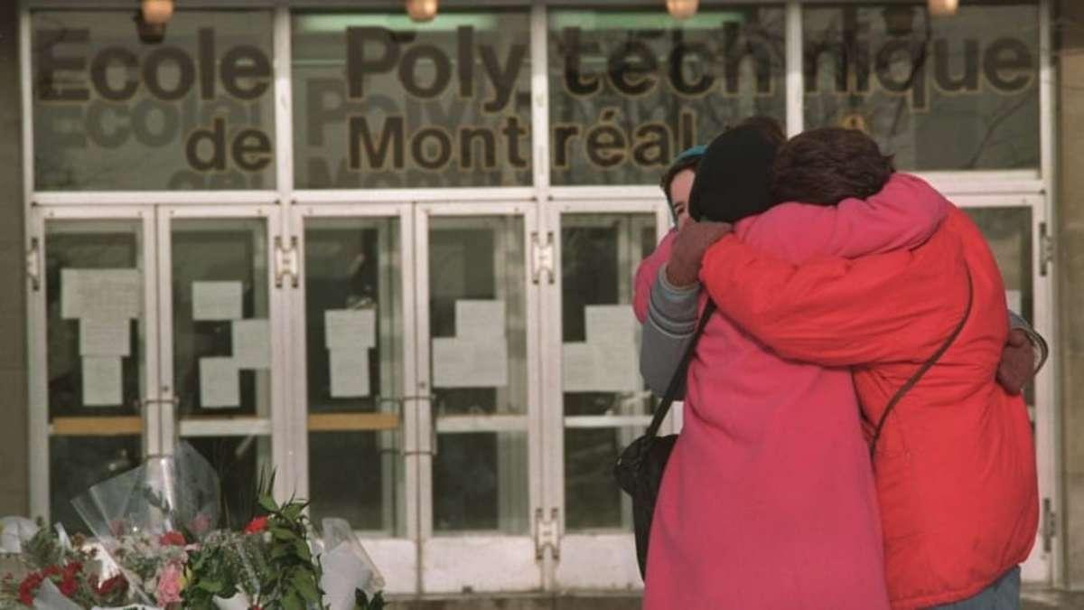 Mourners outside École Polytechnique.