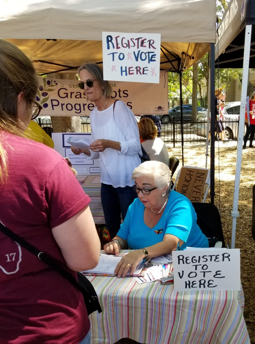 Booths gave people the opportunity to register to vote in upcoming elections.