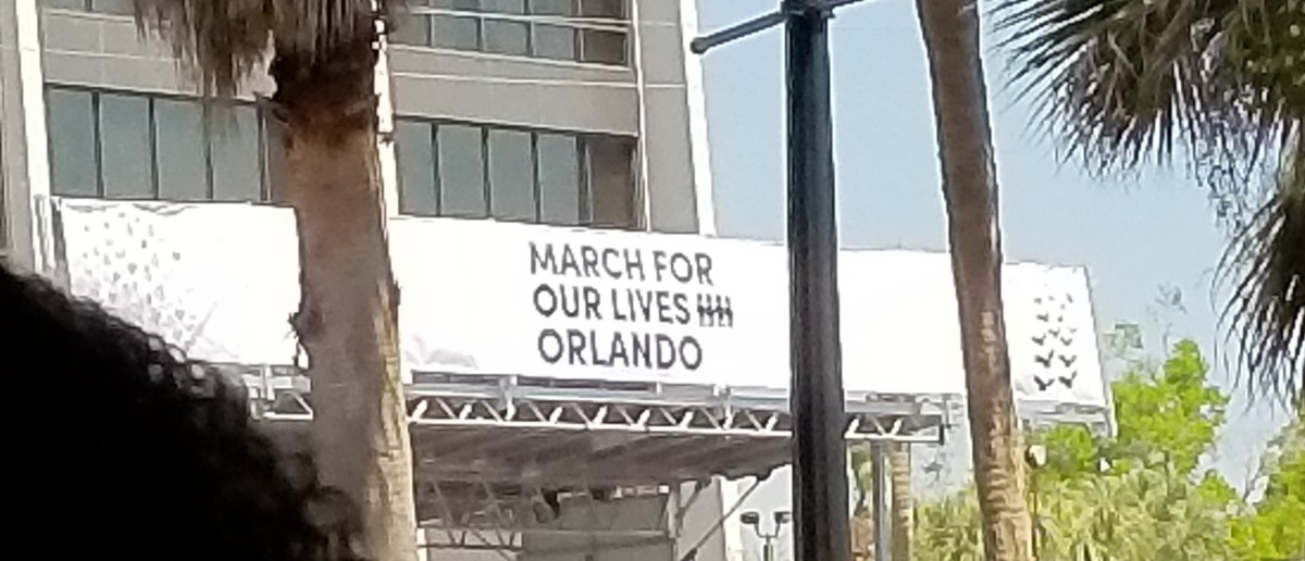 The rally sign over the stage at the March for Our Lives in Orlando on March 24, 2018.