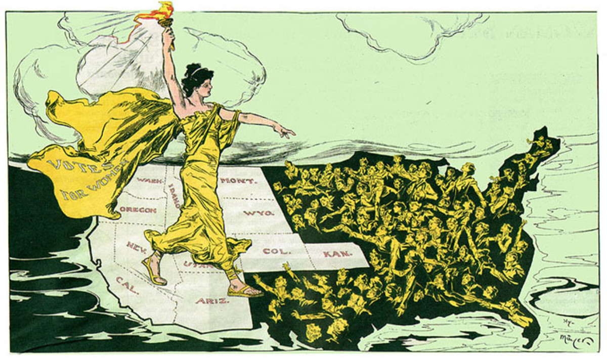An illustration depicting the suffrage movement.