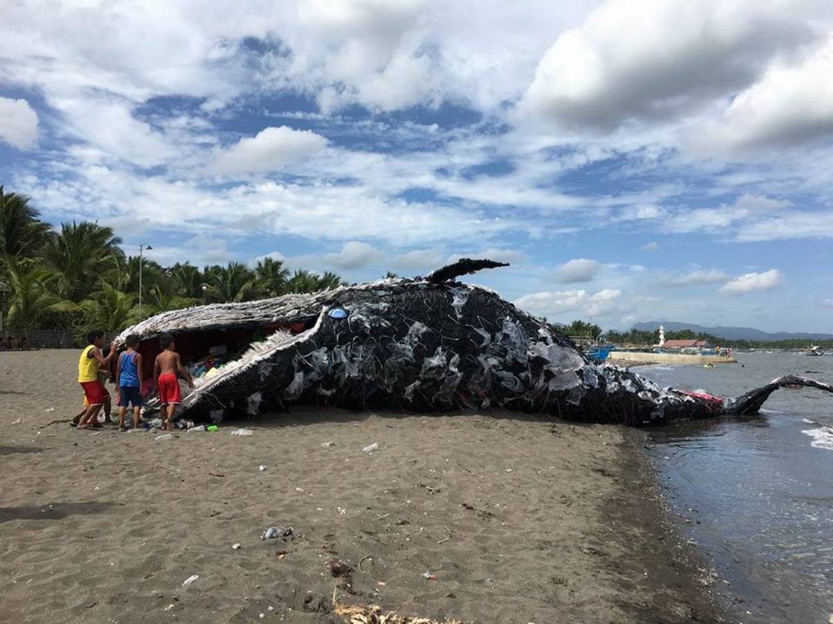 No real whale was harmed in this sculpture, don't worry. This giant plastic sculpture can be found in the Philippines as a wake-up call to environmental awareness...