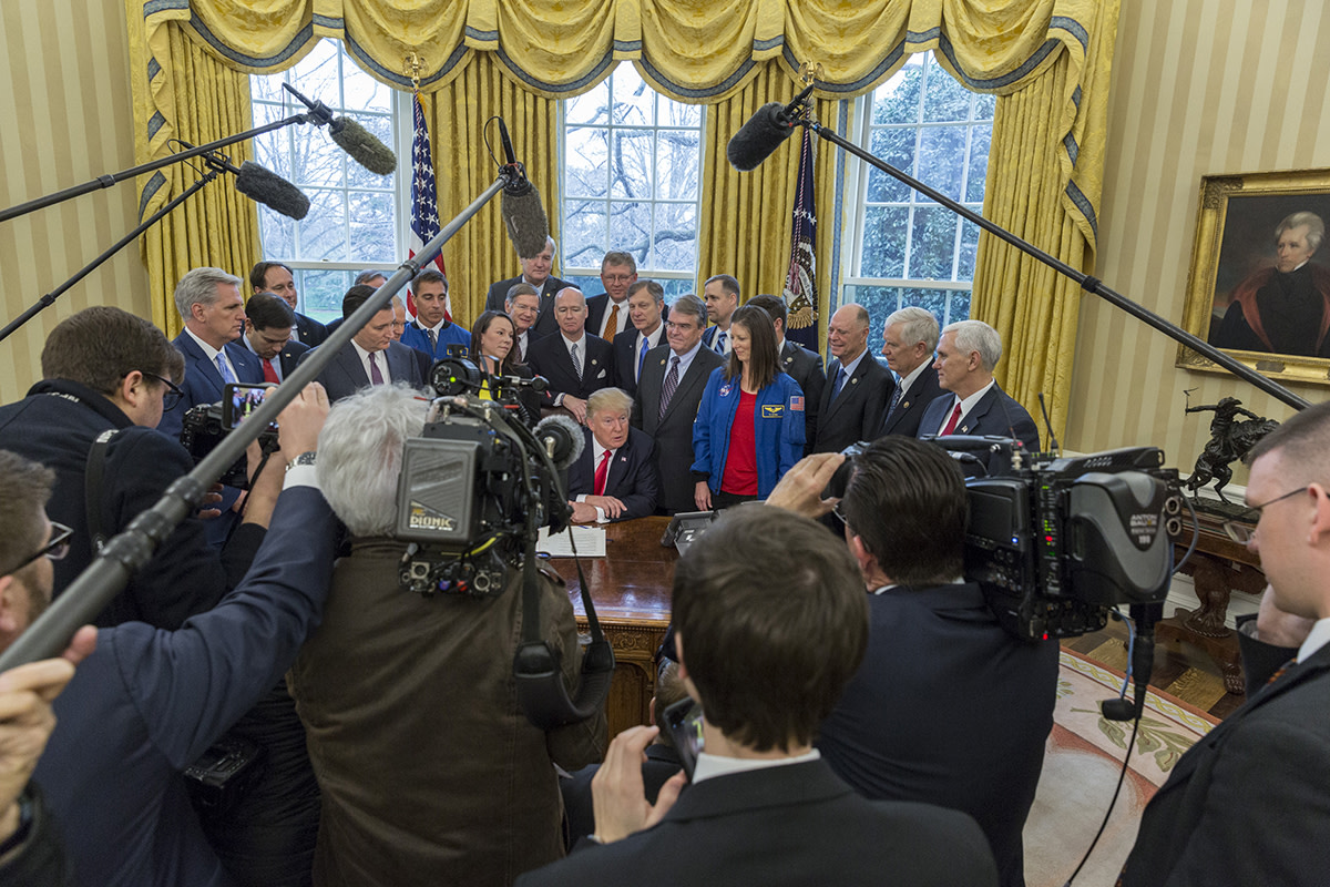 President Trump meets with the Press