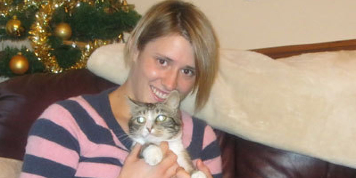Rebecca with her cat.