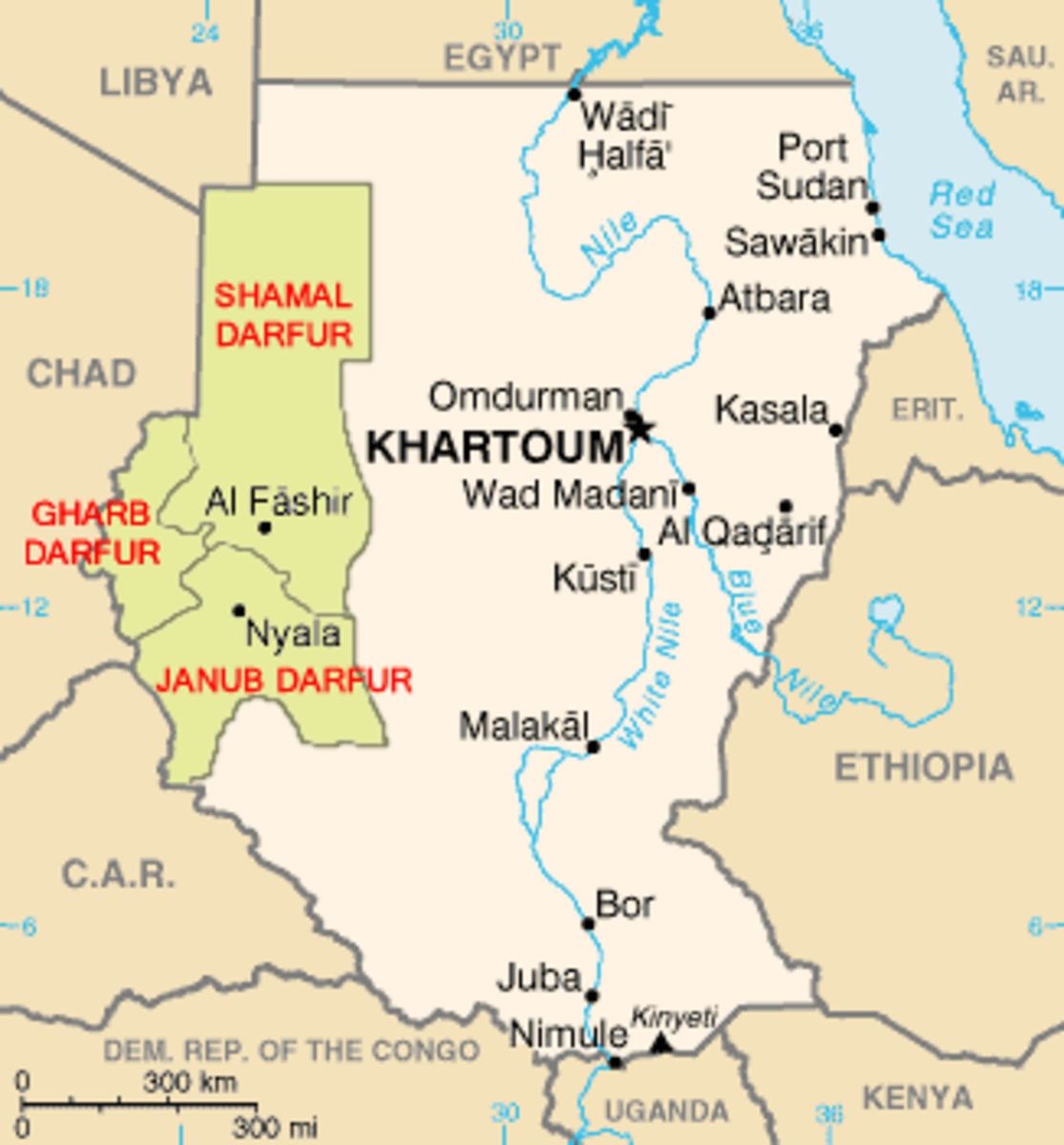 Map of the social and political division that exists in Sudan.