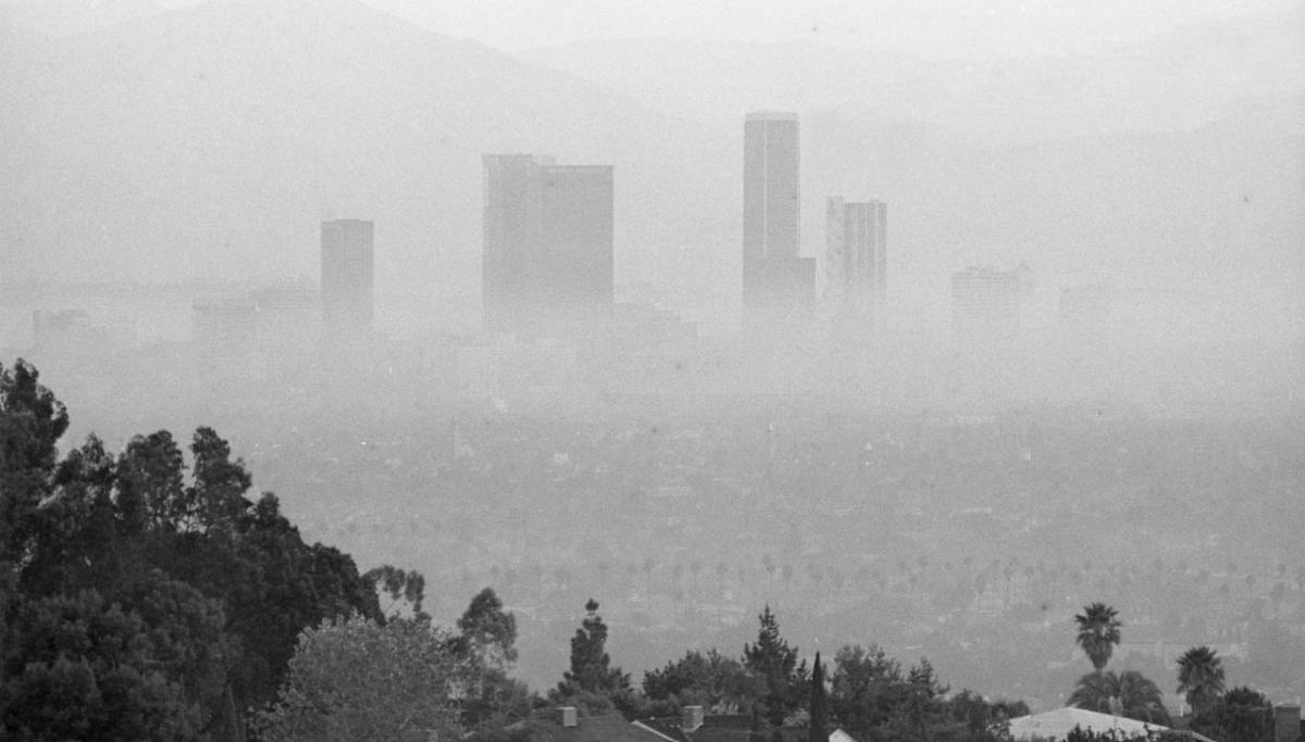 Downtown LA in 1973. The smog in Los Angeles was at times intolerable.