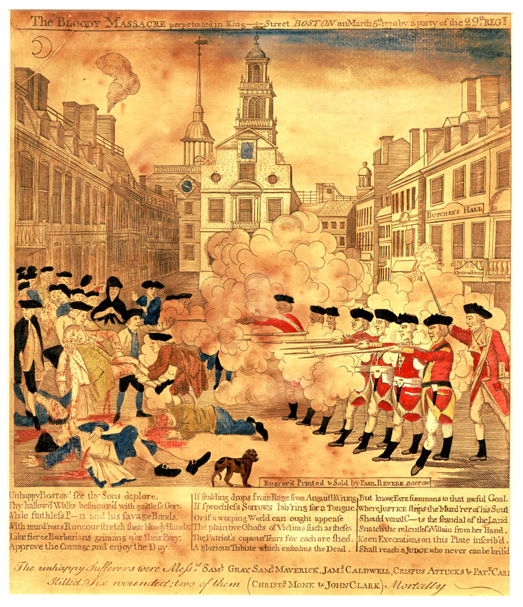 """An engraving by Paul Revere titled """"The Bloody Massacre Perpetrated in King Street Boston on March 5th, 1770."""""""
