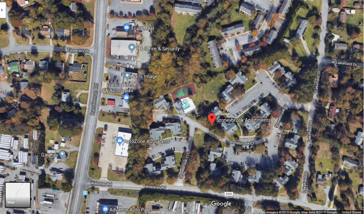 Aerial view of the apartments she went missing from.