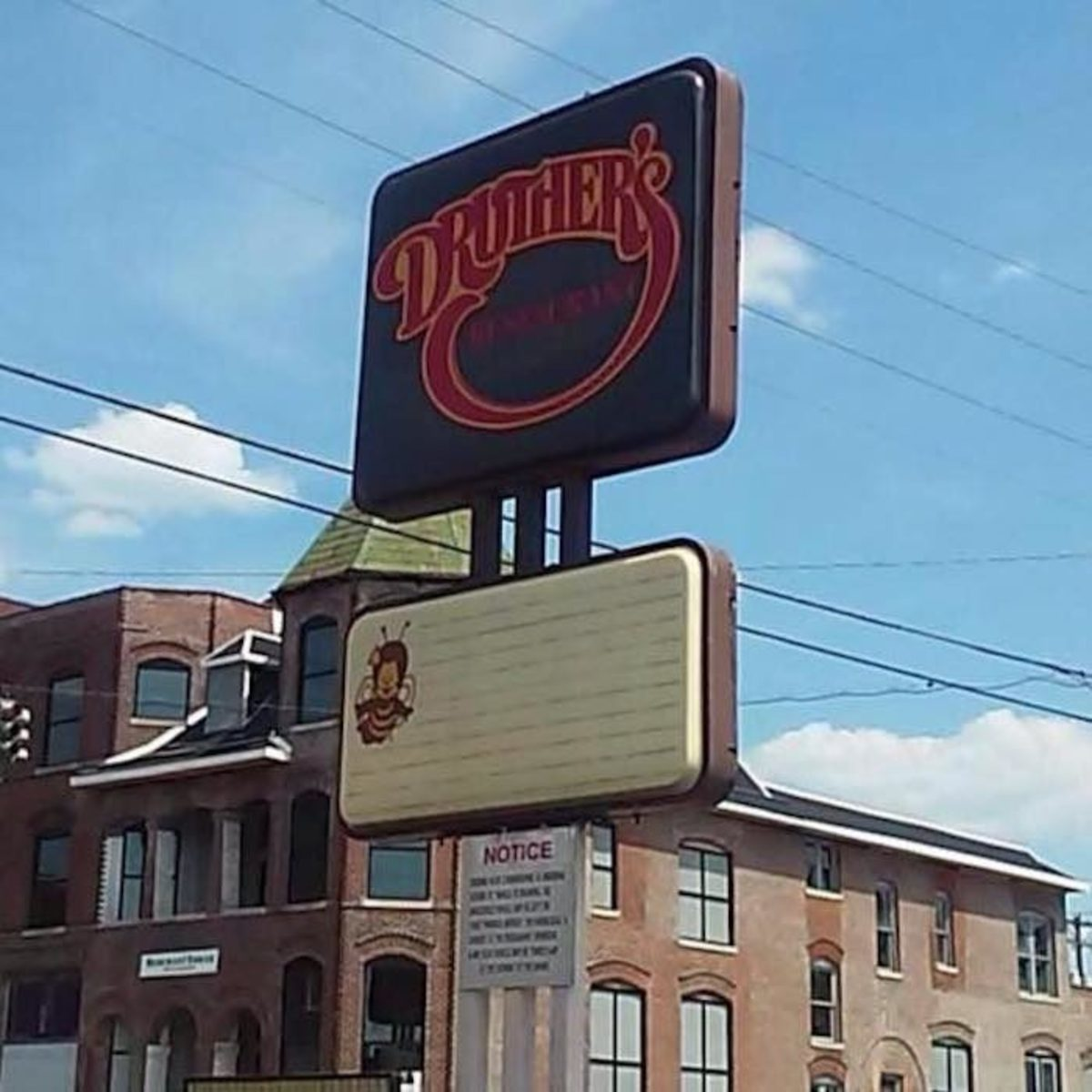 The photo is of a restaurant in Kentucky as it is the last of the Druthers restaurants.