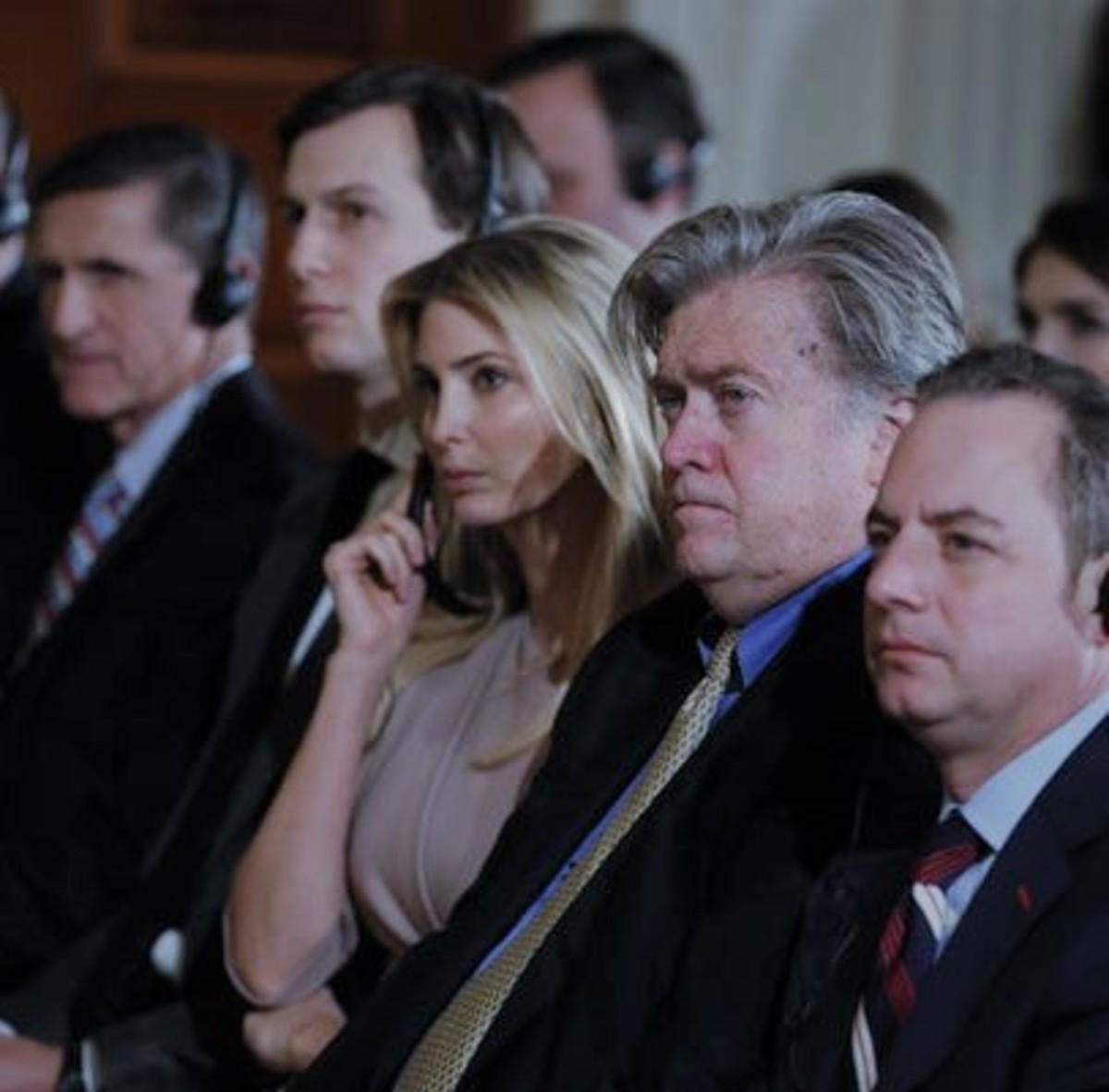 Flynn, Kushner, Trump, Bannon, Priebus