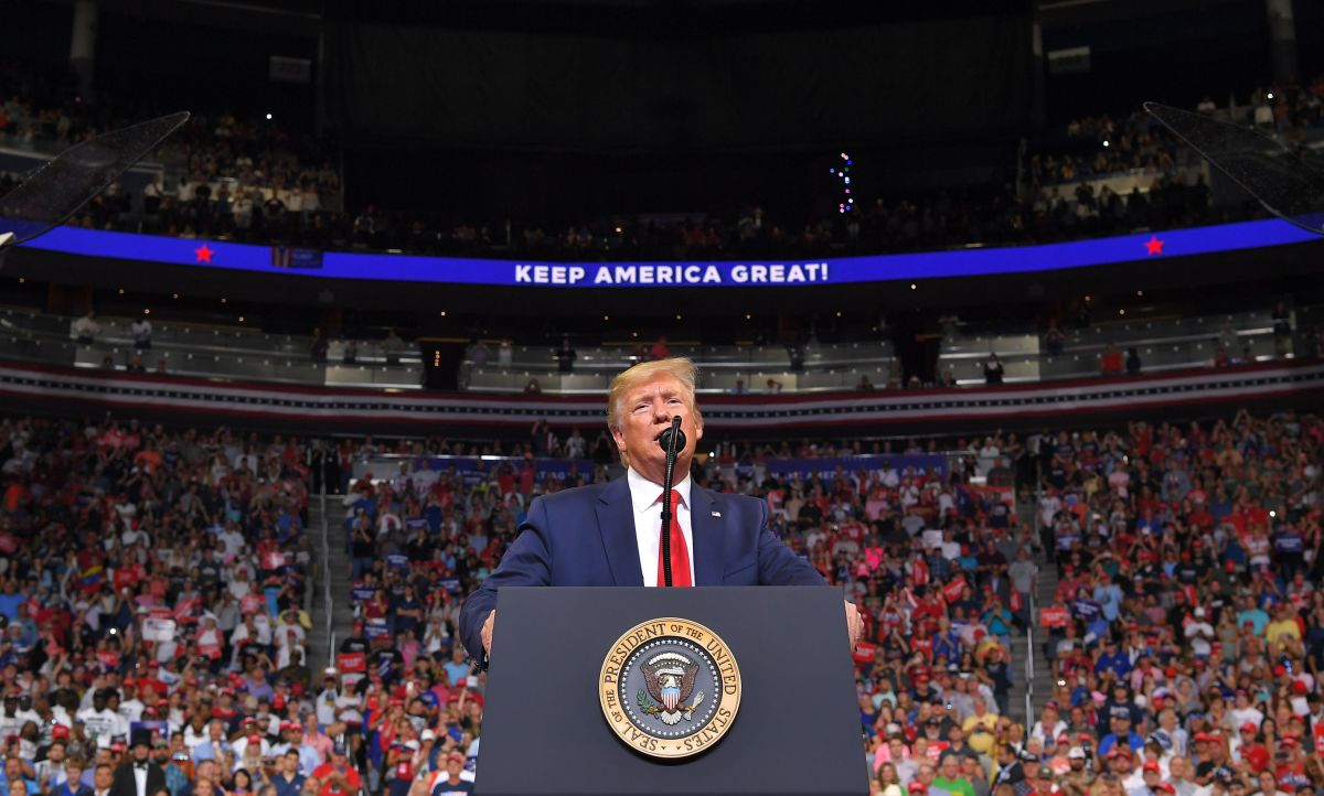 Donald J. Trump at his campaign kickoff rally in Orlando, Florida, June 18, 2019