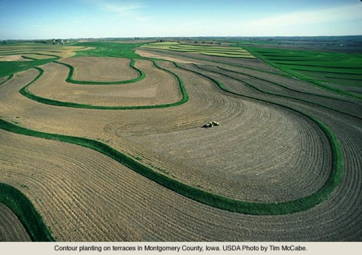 When done correctly, modern-day contour plowing looks something like this and will help reduce soil loss through erosion.