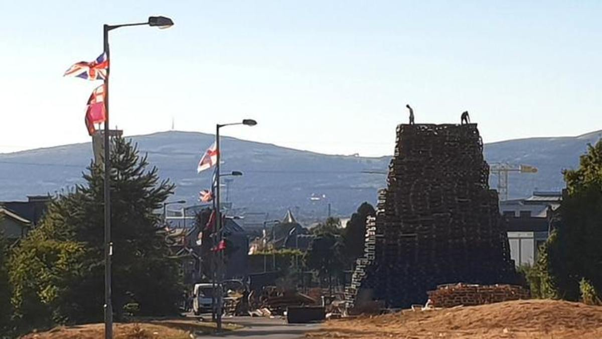 11th night bonfires are huge structures built out of car tires, wooden pallets and junk.
