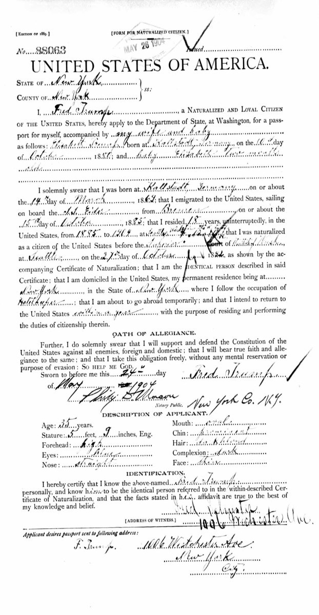 Naturalization papers for Fred Trump.