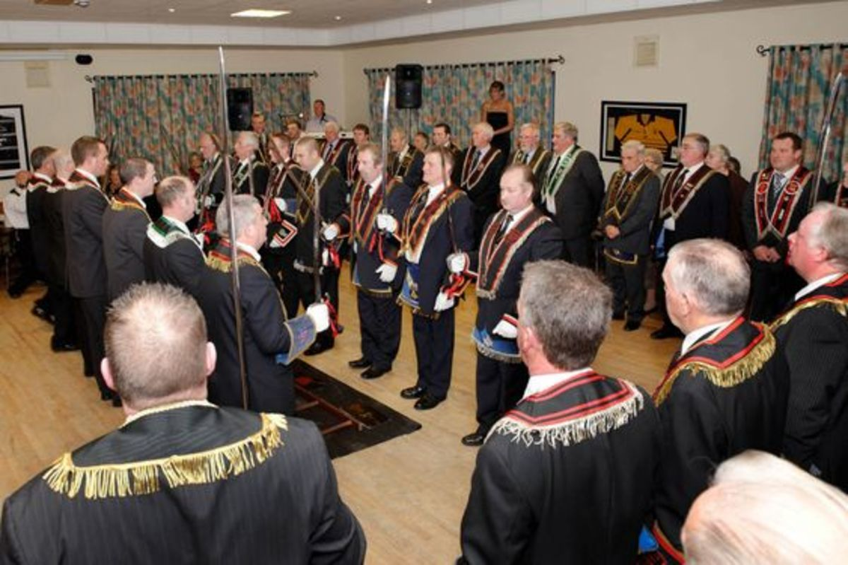 Members of the Royal Black Preceptory, traditionally viewed as the most elitist of the loyal orders. Their main public demonstration is on the last Saturday in August which is referred to as Black Saturday.