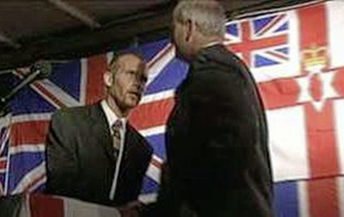 Loyalist godfather & sectarian serial killer sharing a stage with DUP's William McCrea, MP (now Lord Magherafelt)