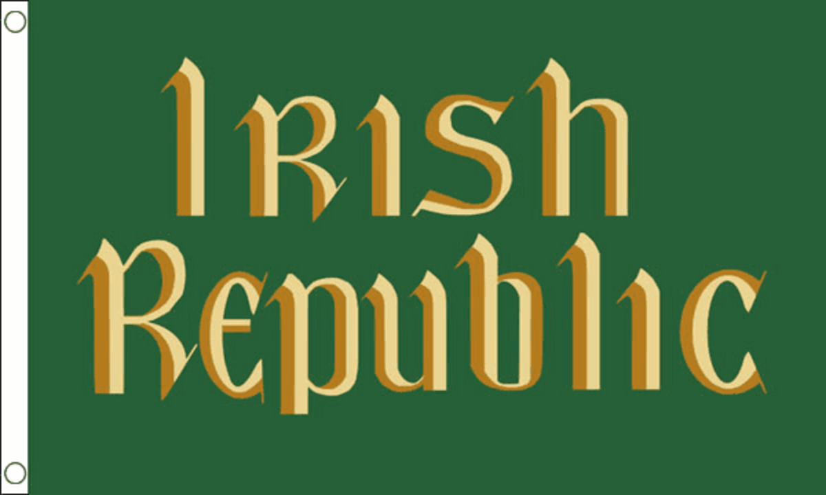 The green flag proclaiming an Irish flag was flown from the revolutionaries HQ at Dublin's General Post Office during the 1916 Easter Rising.
