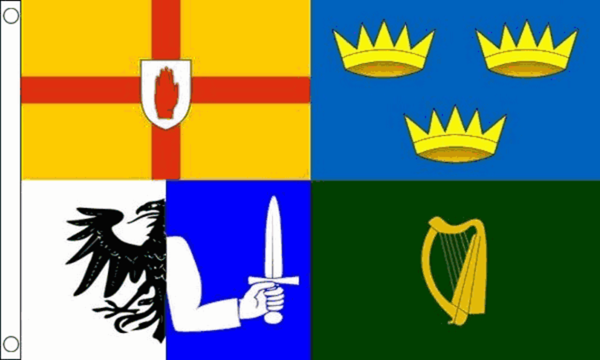 The Four Provinces flag incorporating the shields of Ulster, Connacht, Leinster and Munster.