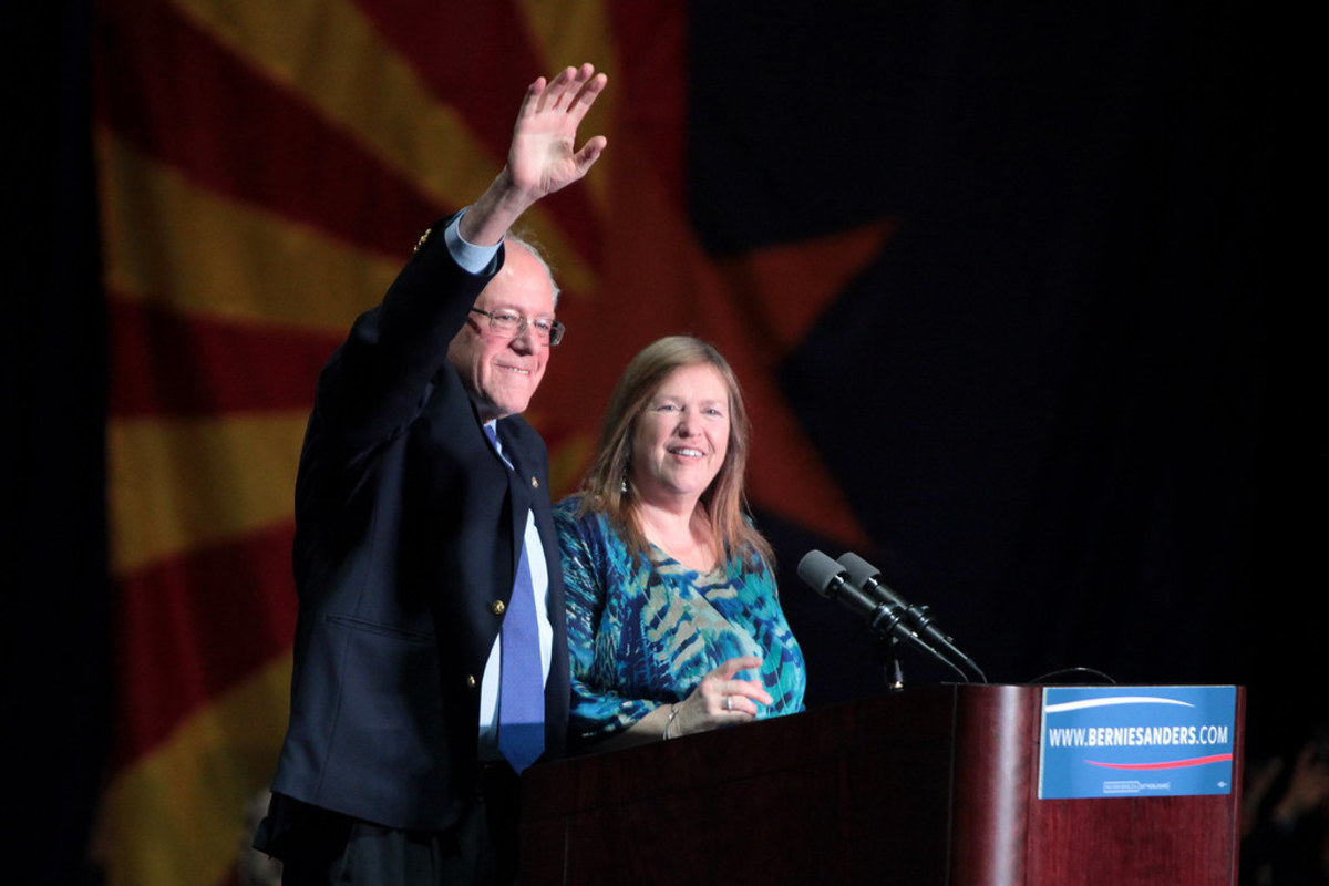 Bernie and Jane Sanders on the campaign trail.
