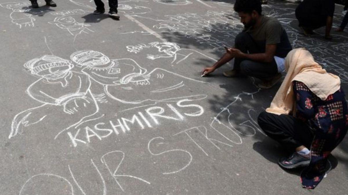 Chalk art about Kashmir.