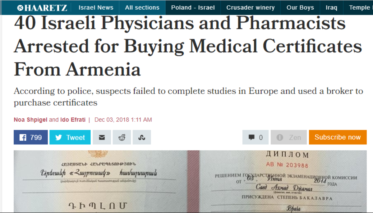 Haaretz: Israel arrested dozens of physicians and pharmacists on Sunday on suspicion of purchasing fake licenses from Armenia after failing to complete their studies in other European countries. The police arrested the suspects at their homes and wor