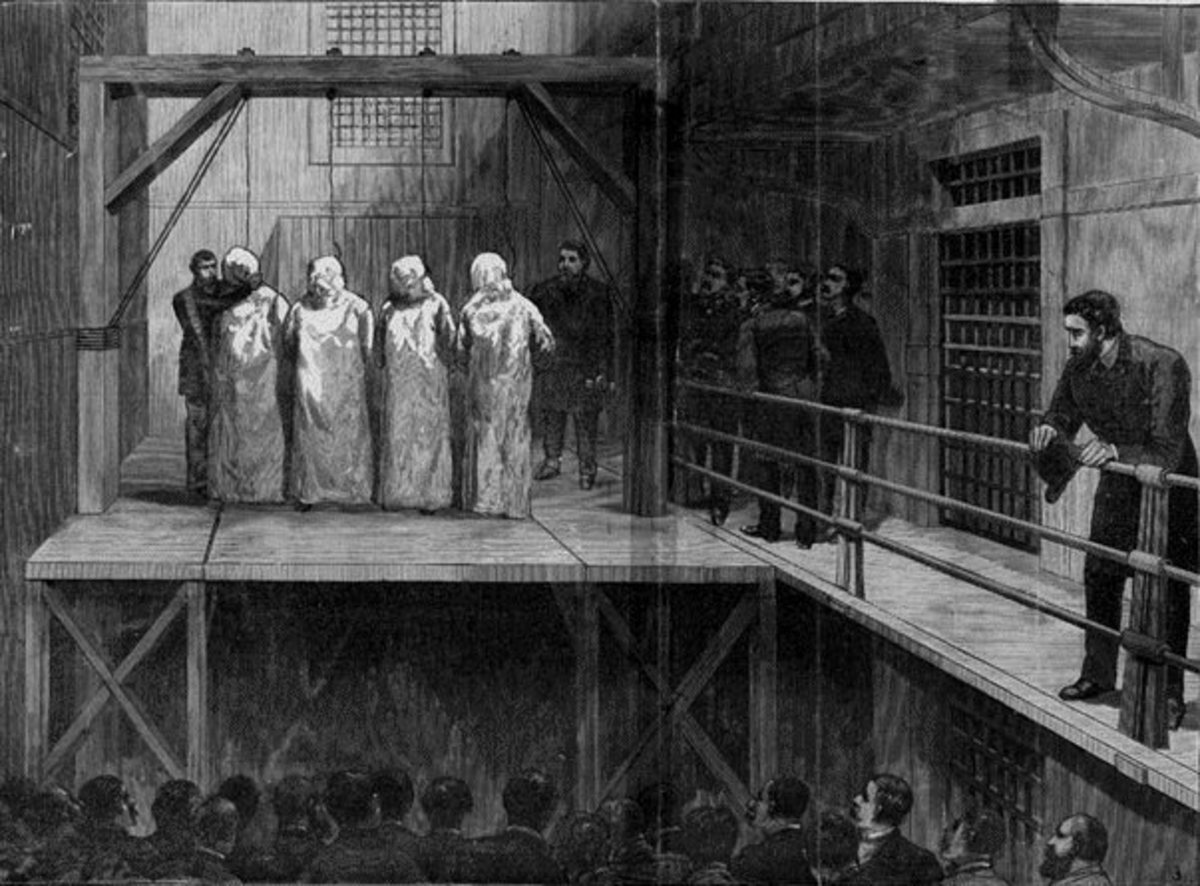 Four of the Haymarket conspirators face execution on the gallows Tommy O'Connor was supposed to be hanged on.