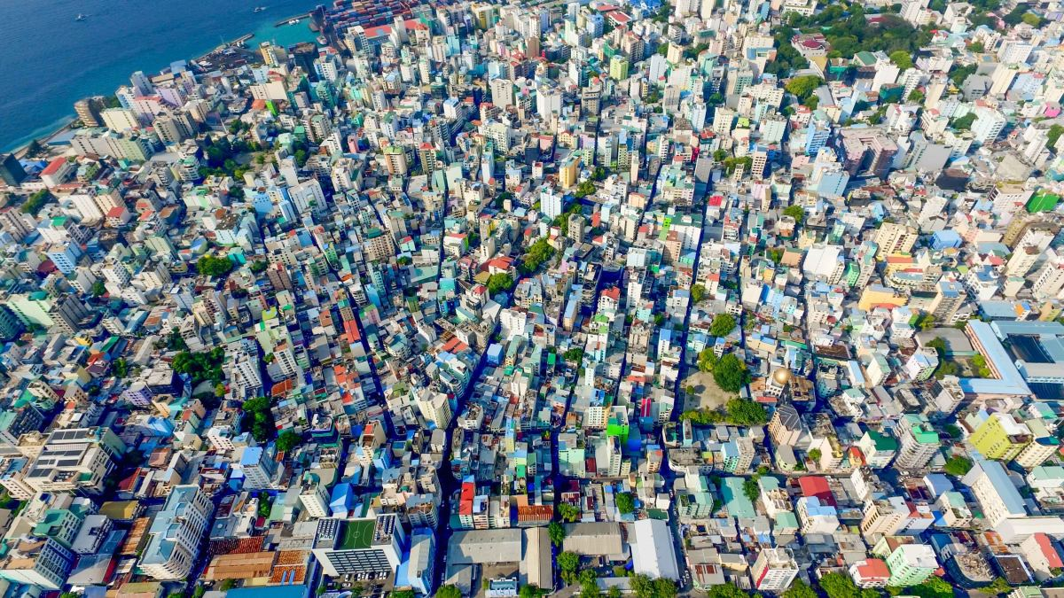Aerial view of Malé: this city is one of the most densely populate